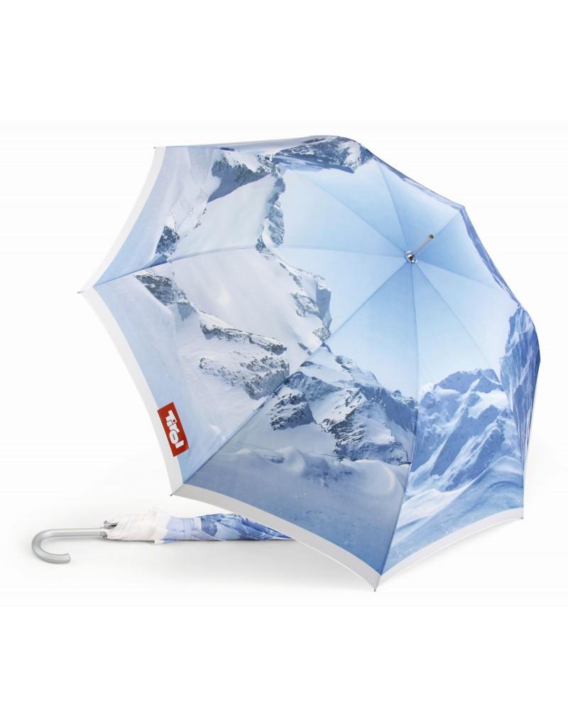 Damit bleiben Sie trocken: Der praktische Stockschirm aus der Tirol Kollektion begleitet Sie durch Regentage. Dabei ist der Schirm auch noch ein optischer Blickfang, denn er ist mit dem imposanten Winterpanorma der Tiroler Wildspitze bedruckt.