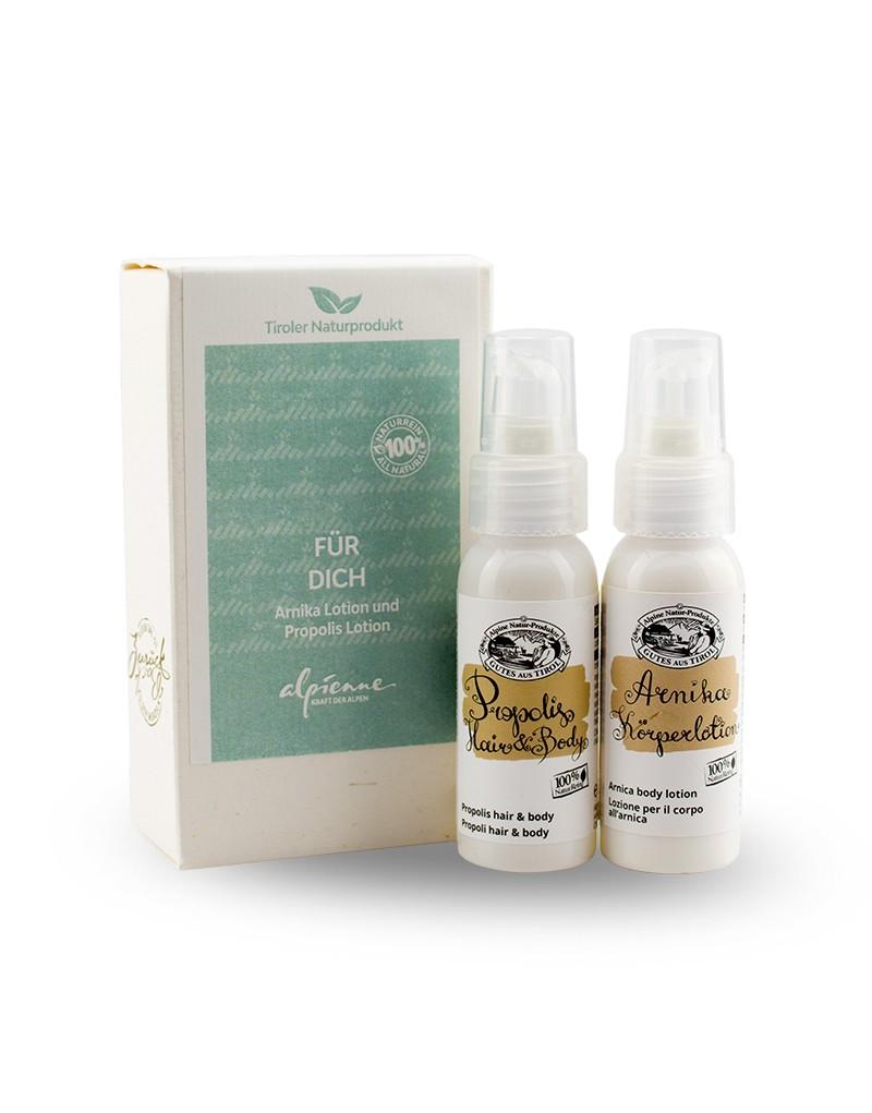 """Dieses Set belebt und verwöhnt: Das Alpienne """"Für dich""""- Paket mit Arnika Lotion und Propolis-Mixtur für Haare und Körper ist ein hochwertiges Geschenk – für die Liebsten oder uns selbst.  Die naturreine Arnika-Lotion erfrischt nach dem Sport und pflegt strapazierte Haut.  Propolis Hair & Body ist ein schonendes Shampoo und eine Duschgel-Mixtur mit ausschließlich natürlichen Ingredienzien sowie Propolis. Das Propolis Shampoo und Duschgel versorgt Haarwurzeln und Haut mit vielen wohltuenden Substanzen. Es wirkt feuchtigkeitspendend, reinigt sanft, klärt und beruhigt.    -Arnika-Lotion: 30 ml -Propolis Hair & Body: 30 ml"""
