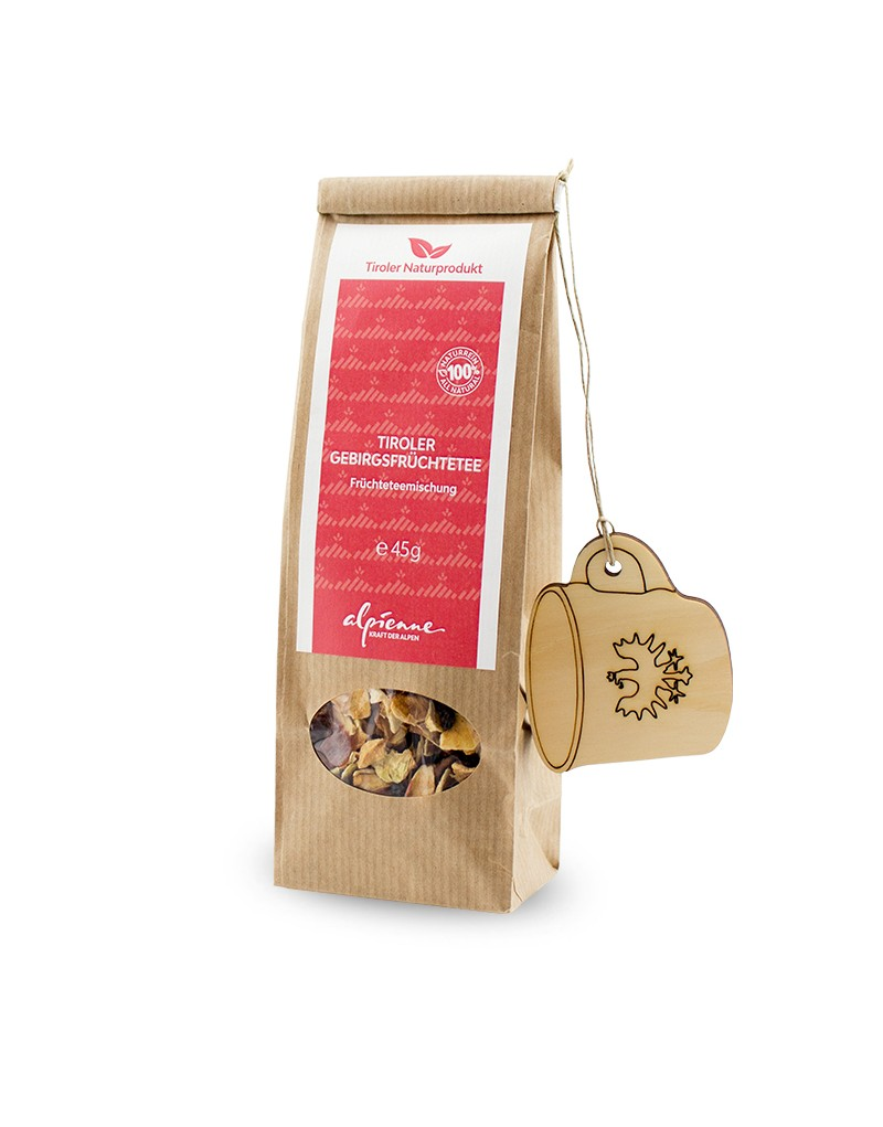 """Nur das Beste aus der Natur: Dieser naturreine Tee vereint den süßen Geschmack von Apfelspalten mit Holunderbeeren und fruchtigen Hagebutten. Er wird nach altbewährter Rezeptur hergestellt und von Hand im Tiroler Pitztal verarbeitet.Verwöhne dich selbst mit köstlichem Tee oder schenke die liebevoll verpackten """"Gebirgsfrüchte"""" an deinen Liebsten weiter: Freude ist garantiert!   -fruchtig-süßer Tee  -in Tirol produziert -Größe: 45 g"""