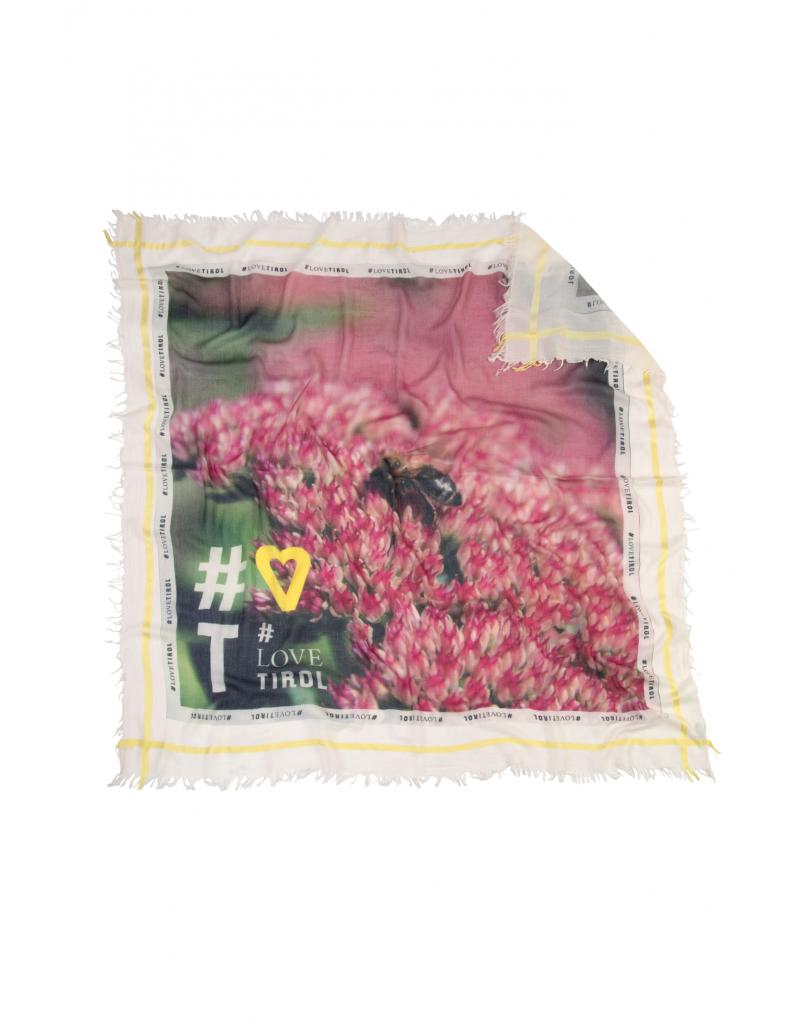 """Fröhlich, bunt und angenehm leicht: Das Tuch """"Sandra"""" eignet sich ideal als Geschenk für die Liebsten. Es ist aus weichem Modal (5%) und Baumwolle (95%) gefertigt und besonders angenehm zu tragen. Das farbenfrohe Motiv zeigt blühende Blumen und weckt selbst an grauen Regentagen Sommergefühle.    bedruckt mit modernster Digitaldrucktechnik umrahmt mit Jaquardmuster in Akzentfarbe   besonders weich und leicht   lässige Schnittfransen auf allen 4 Seiten   Größe: 140 x 140 cm"""