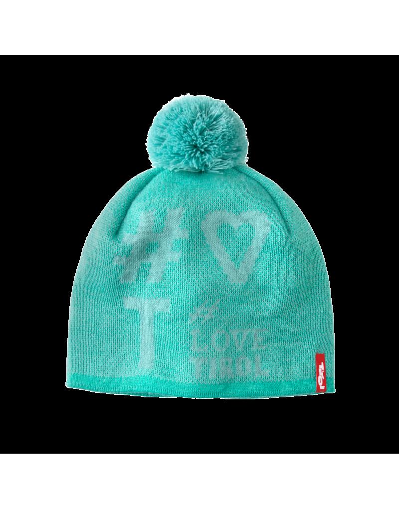 """Wärmt und hat Style: Die Mütze """"Juan"""" aus der aktuellen Tirol Kollektion garantiert nicht nur warme Ohren, sie ist auch ein modisches Highlight für Tirol-Fans. In drei Farben und mit dem """"Love Tirol"""" Hashtaglogo lässt sie sich zu sportlichen Outfits und modischen Freizeitlooks ideal kombinieren.    eingenähtes Fleeceband   50% Schurwolle, 50% Polyacryl"""
