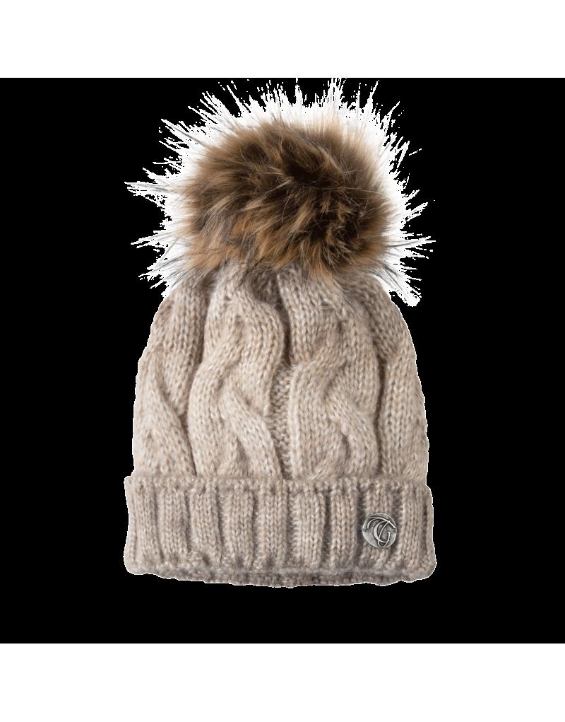 """Die Mütze """"Geli"""" ist mehr als nur ein Accessoire, um sich vor der Kälte zu schützen. Sie ist der letzte Schliff für deinen coolen Winterstyle. Der Kunstfell-Bommel und das große Zopfstrickmuster runden die modische Mütze perfekt ab.    eingenähtes Fleeceband   Material: 50% Schurwolle, 50% Polyacryl"""