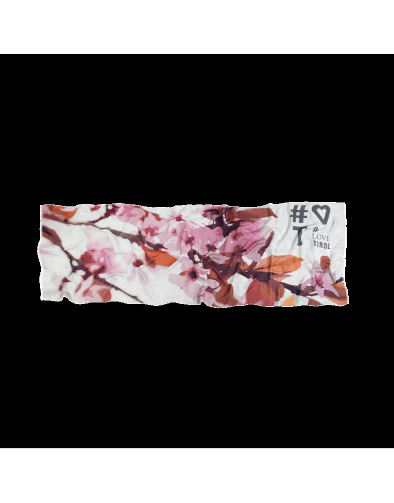 """Flauschig, weich und warm: Das Tuch """"Britta"""" eignet sich ideal als Geschenk für die Liebsten. Es ist aus Wolle, Baumwolle und Modal gefertigt und besonders angenehm zu tragen. Das auffallende Motiv zeigt blühende Kirschen und weckt selbst an grauen Tagen Sommergefühle.    präziser Digitaldruck umrahmt mit Jacquardmuster in Akzentfarbe   gewebt aus besonders zarter Materialkomposition   lässige schnittfransen auf allen 4 Seiten   Größe: 60x180 cm   Material: 47% Wolle, 40% Baumwolle und 13% Modal"""