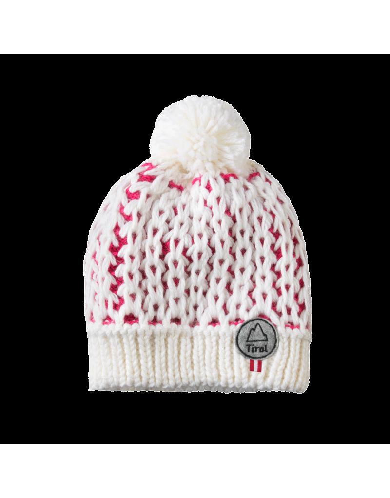modische Bommelmütze   mit Tirol-Patch   eingenähtes Fleeceband   Material: 50% Schurwolle, 50% Polyacryl