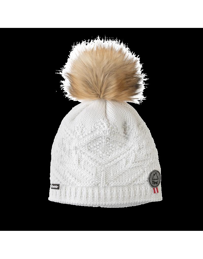 Damenmütze mit Kunstfellbommel   Tirol-Patch   warmes Innenfleece   Material: 50% Merinowolle, 50% Polyacryl