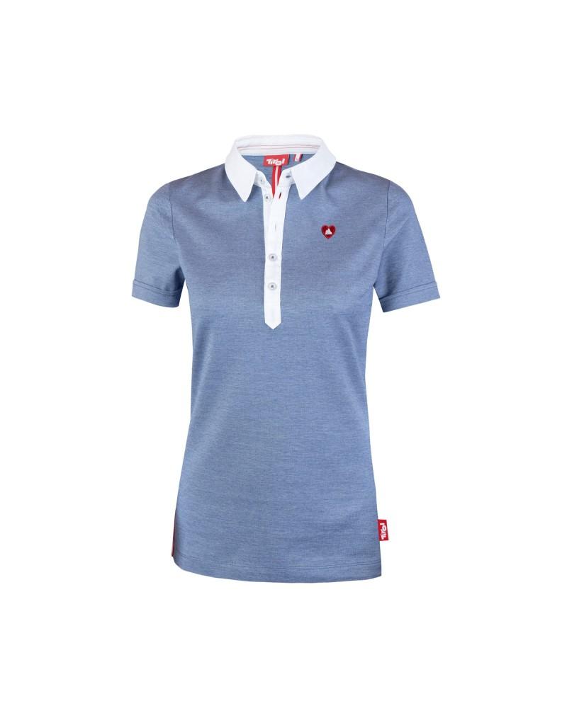 Damen-Poloshirt aus 100 % Baumwolle   Kragen und Knopfleiste aus Baumwoll-Popeline in Weiß   Knopfleiste mit fünf tonalen Knöpfen, angenäht mit Kontrastgarn   Ärmel im Roll-Up Look   Seitenschlitze außen mit rot-weiß-rotem Beleg   HerzBerg-Stickapplikation auf der linken Brust