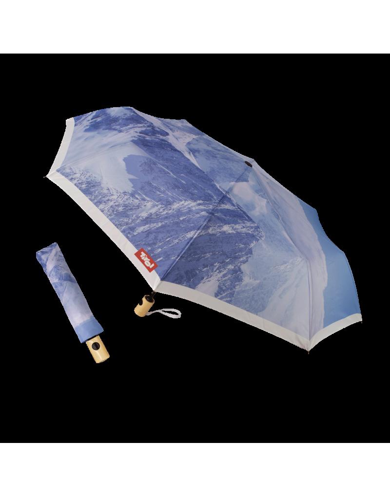 Holzgriff   Schirm ist aus Pongè (feinste Naturseide)   Motiv: Ötztaler Alpen